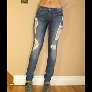 7 Mankind Roxanne Liberty Floral Patch Skinny